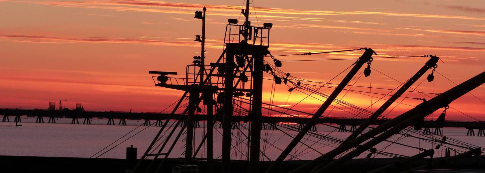 Schiff im Sonnenuntergang, © Die Nordsee GmbH, Birte Kreitz